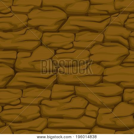 Cracked pattern of brown earth, Vector seamless soil texture