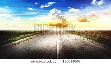 Highway road. Forward direction. Outdoor trip panorama