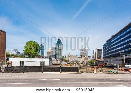 Montreal, Canada - May 28, 2017: Downtown Cityscape Or Skyline With New Construction Outside In Queb