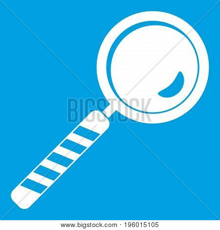 Magnifying glass icon white isolated on blue background vector illustration