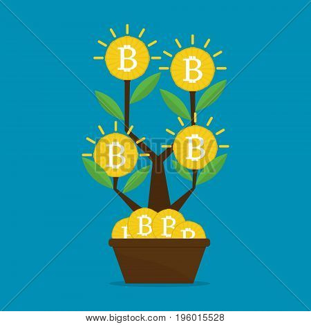 Money bitcoins tree on blue screen background growth and investment concept. Vector illustration business concept design.