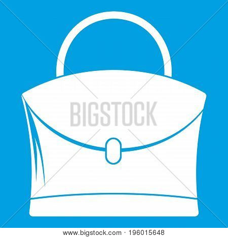 Little woman bag icon white isolated on blue background vector illustration