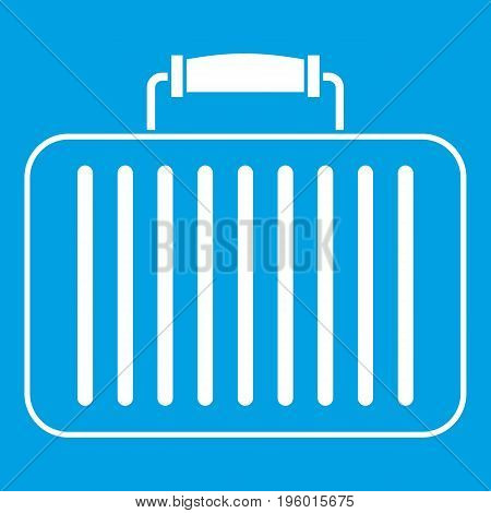 Briefcase icon white isolated on blue background vector illustration