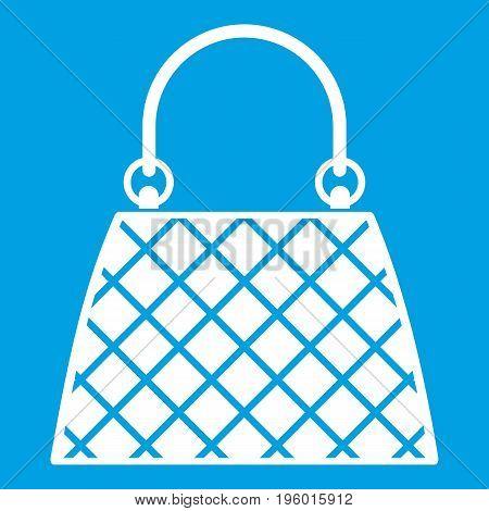 Beautiful bag icon white isolated on blue background vector illustration