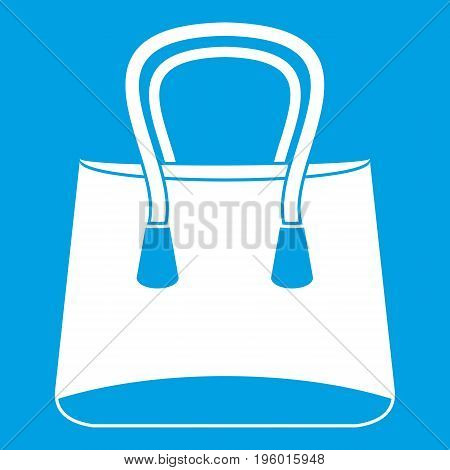 Small woman bag icon white isolated on blue background vector illustration