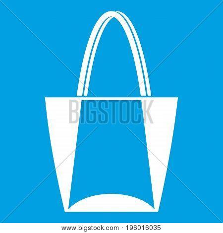 Big bag icon white isolated on blue background vector illustration