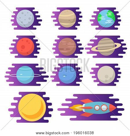 The planets of the solar system, the sun and the rocket. Vector illustration in flat style.