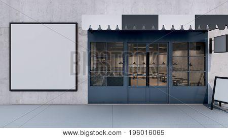 Cafe shop & Restaurant design Modern Loft frame mock up- 3D render
