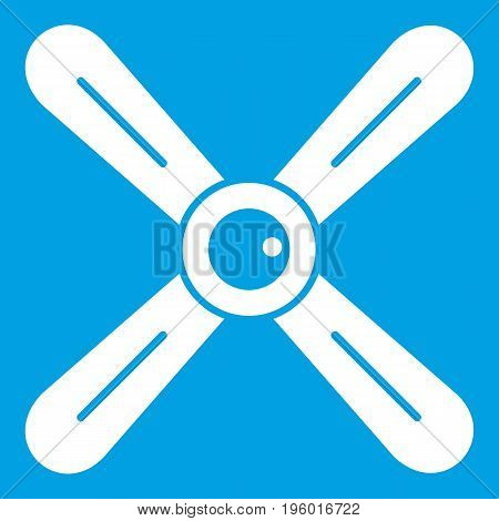 Propeller icon white isolated on blue background vector illustration