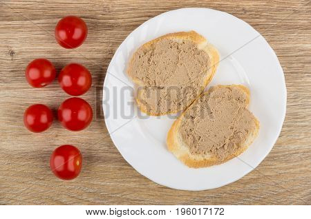 Bread, Sandwiches With Liver Paste In Plate, Tomatoes Cherry