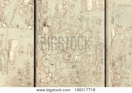 Background Concrete Wall, Traces Of Weathering, Worn Wall Damaged Paint Old Paint. Remains Of Old Pa