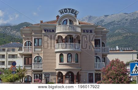 BUDVA MONTENEGRO - JUNE 27 2017: Small hotels - villas for tourists - the main buildings in Budva