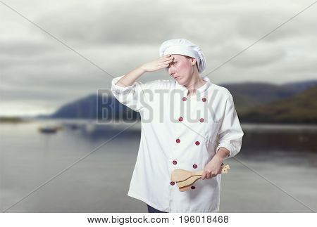 Young Woman Chef Overwhelmed, She Has A Lot Of Probems