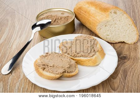 Bread, Sandwiches With Liver Paste In Plate, Jar Of Paste