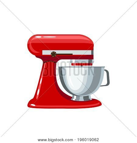 Red stand mixer with metal bowl. Vector illustration flat icon isolated on white.