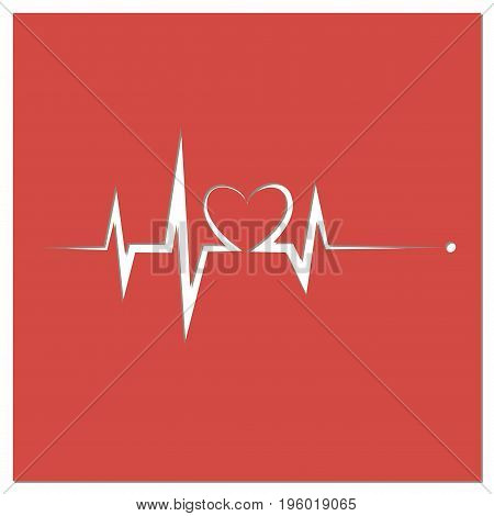 Heartbeat Line Heart Cardio. Red heart icon with sign heartbeat. illustration. Heart sign in flat design.