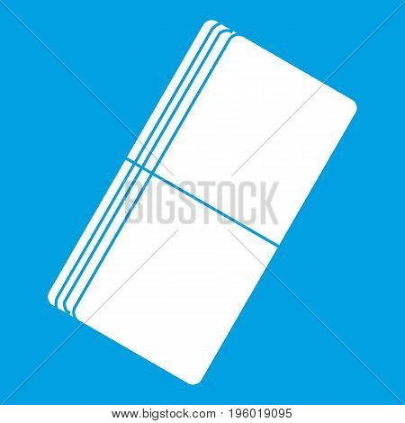 Eraser icon white isolated on blue background vector illustration