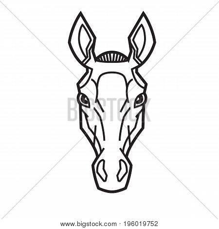 horse head stylization ears raised thoroughbreds like a tattoo or logo vector illustration