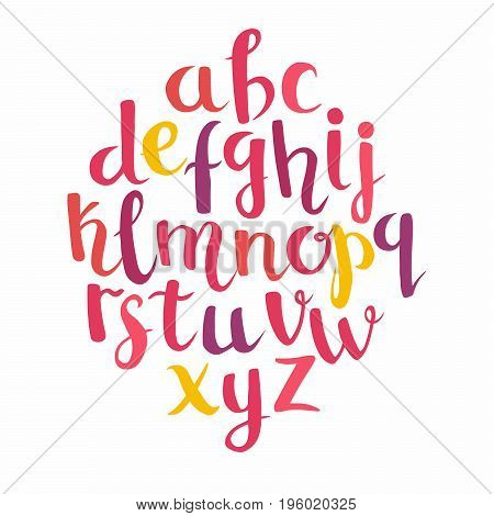 Calligraphic vector font. Lettering latin alphabet. Hand drawn brush painted letters. Coloring red letters for you text or logo. Isolated on white background
