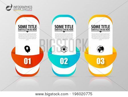 Infographic template. Business concept with 3 steps. Vector illustration