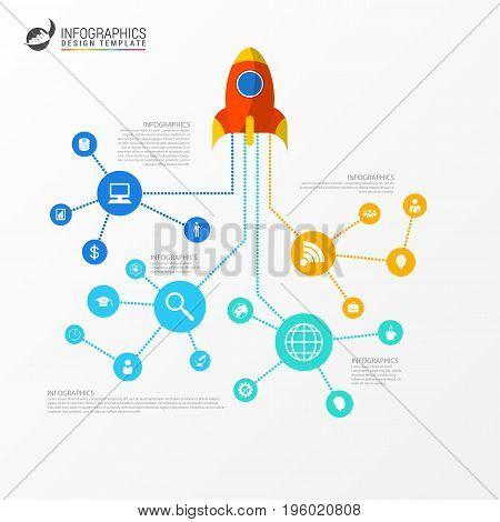 infographic template. Business network concept. Can be used for workflow layout banner diagram. Vector illustration