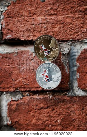Brexit Coins On The Wall