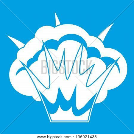 Projectile explosion icon white isolated on blue background vector illustration