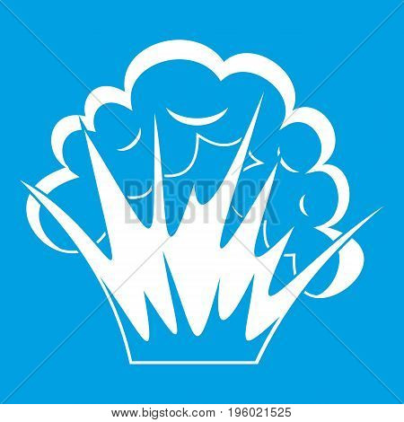 Flame and smoke icon white isolated on blue background vector illustration
