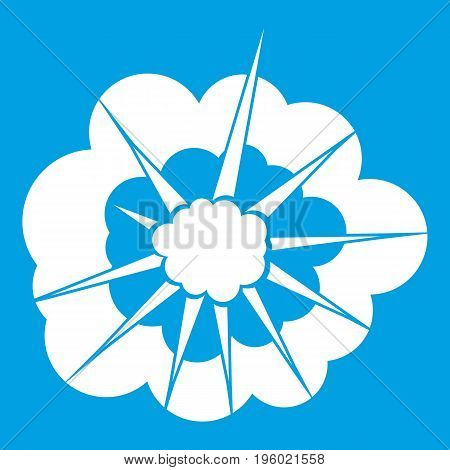 Cloudy explosion icon white isolated on blue background vector illustration