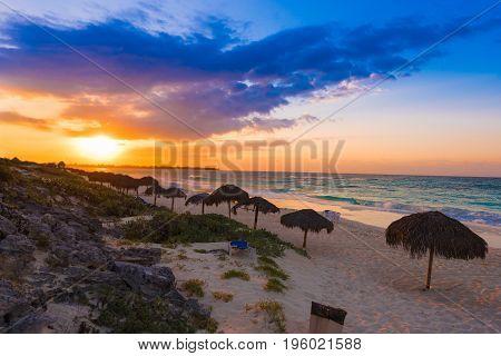 Sunrise On The Sandy Beach Of Island Of Cayo Largo, Cuba.