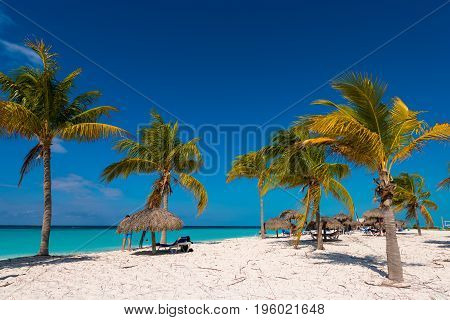 Sandy Beach Playa Sirena Of The Island Of Cayo Largo, Cuba. Copy Space For Text.