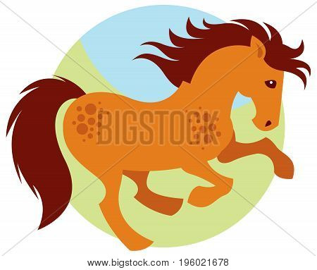 Cartoon galloping red horse -  vector mascot or logo illustration
