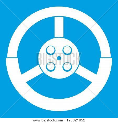 Steering wheel icon white isolated on blue background vector illustration