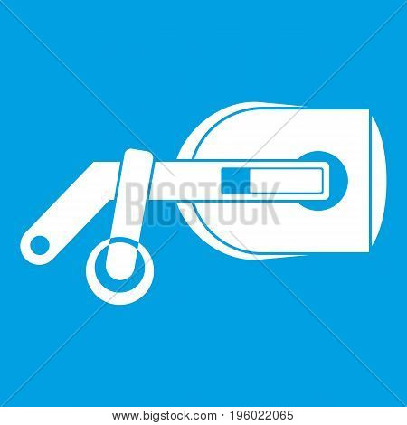 Game reality glasses icon white isolated on blue background vector illustration