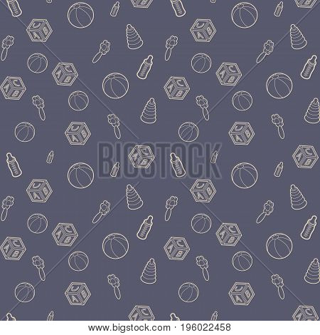 Seamless pattern with beige line art icon of baby cubes, feeding bottles and stacking rings. Vector illustration. Background for dress, manufacturing, wallpapers, prints, gift wrap and scrapbook.