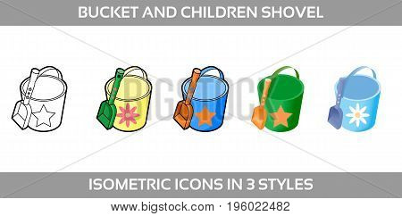 Simple Vector Icons of a classic baby bucket and a sand shovel for a boy and a girl in three styles. Isometric, flat and line art icons.