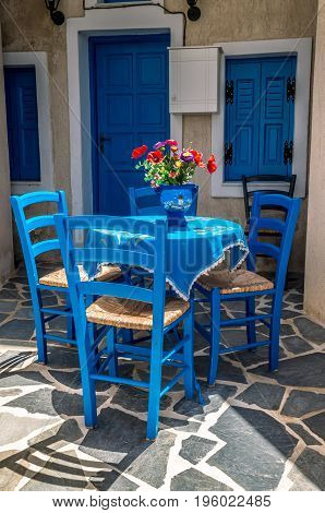 Santorini, Cyclades Islands, Greece. Traditional house facade in Megalochori village.