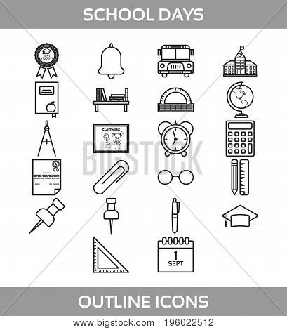 Simple Set of School and Office Vector Line Icons. Contains such Icons as school building, bell, alarm clock, certificate, paper clip, pen, pencil, ruler, triangle ruler, compasses and more. Back to school
