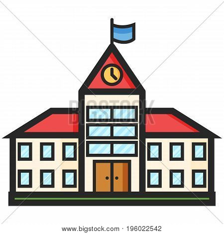 Simple Vector Icon of a school building in flat style. Pixel perfect. Basic education element. School and office tool. Back to college.