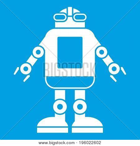 Automation machine robot icon white isolated on blue background vector illustration