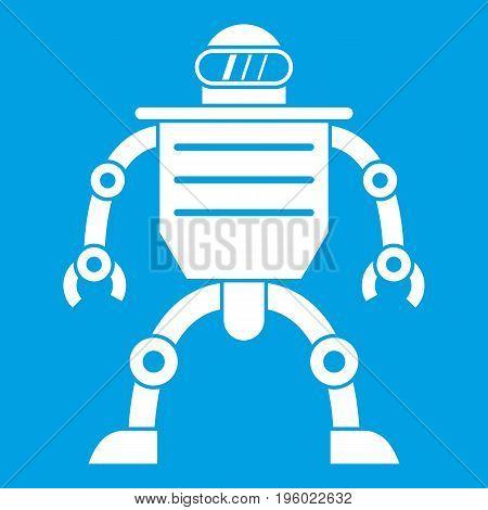 Humanoid robot icon white isolated on blue background vector illustration