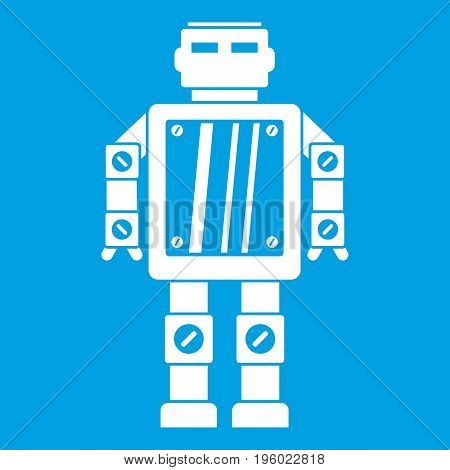 Abstract robot icon white isolated on blue background vector illustration