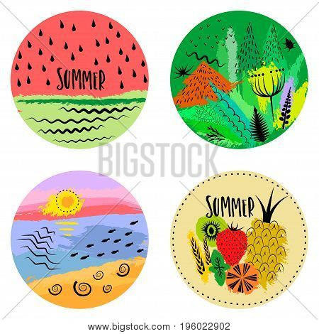 Set of four round hand drawn emblems of summer. Concept for logo poster print advertising touristic brochure t-shirt.