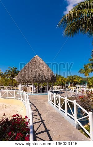 Gazebo In Island Of Cayo Largo, Cuba. Copy Space For Text. Vertical.