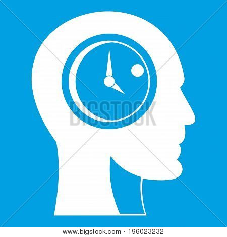 Time management icon white isolated on blue background vector illustration