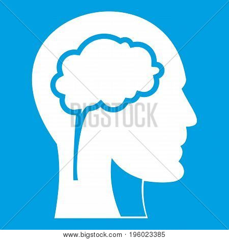 Head with brain icon white isolated on blue background vector illustration