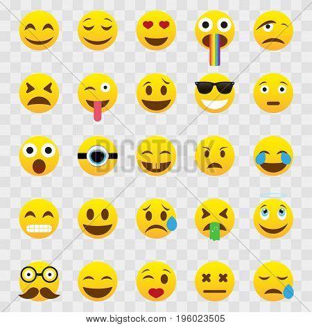 Set of Emoticons isolated on white background. Smiley icons