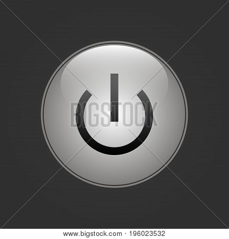 Neon circle. Button switch with gray light on a black background
