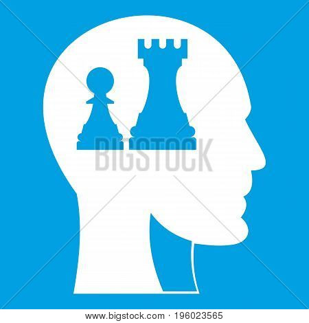 Head with queen and pawn chess icon white isolated on blue background vector illustration