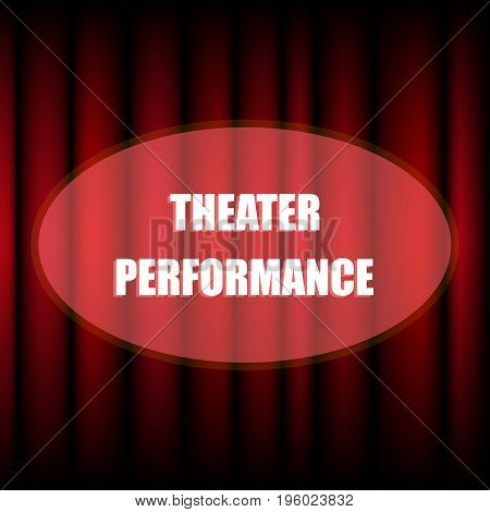Spotlight on stage curtain with text. Stage with red curtains spotlights in theatre